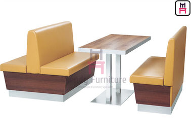Black Color Commercial Banquette Seating , Restaurant Booth Seating Eco - Leather