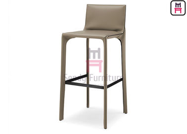 Saddle Leather Restaurant Bar Stools Indoor Furniture With Footrest / Backrest